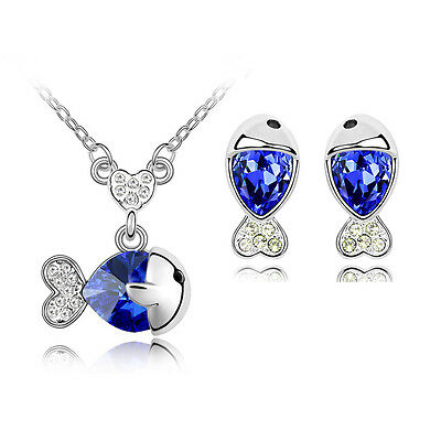 Royal Blue Silver Plated Jewellery Set Crystal Fish Studs Earrings Necklace S345