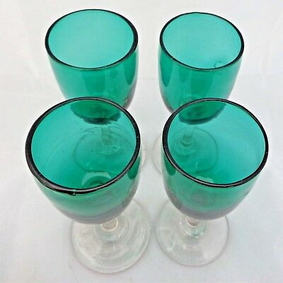 Antique Bristol Green Glass Sherry Glasses Clear Stem Hand Blown Set Four c 1890