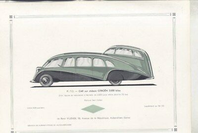 1936 Citroen Streamline Bus ORIGINAL Print French wz3174