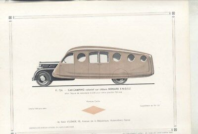 1936 Bernard Streamline Camping Car ORIGINAL Print French wz3175