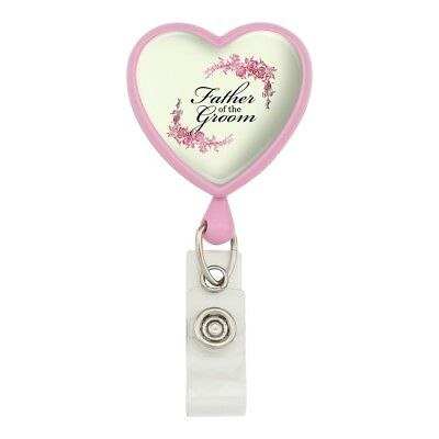 Wedding Floral Father of the Groom Heart Lanyard Reel Badge ID Card Holder