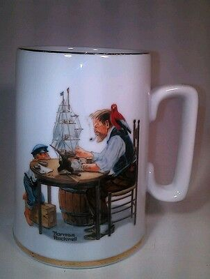 Norman Rockwell Museum Mug For A Good  Boy VTG 1985 12 oz Gold Trim Grandpa Boat