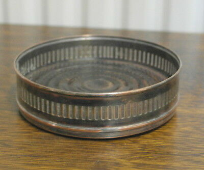 antique  silver plate on copper and wood base WINE BOTTLE COASTER