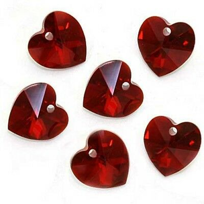 Swarovski Crystal, #6228 Heart Pendants 10mm, 6 Pieces, Siam