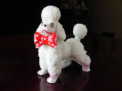 ViNTaGe White Porcelain Ceramic Fancy FRENCH PooDLe Dog Figurine w/ Red BoW TiE