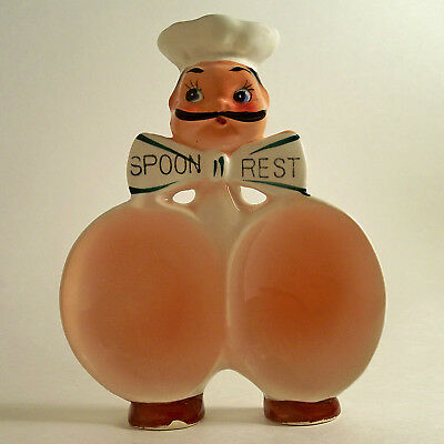 RARE VTG RETRO MCM FRENCH CHEF CERAMIC SPOON REST WALL HANGING JAPAN 1950's MINT
