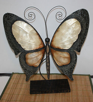 """Large Tin & Mother of Pearl Butterfly Sculpture Figure Art Decor 16.5"""" x 4"""" x 16"""