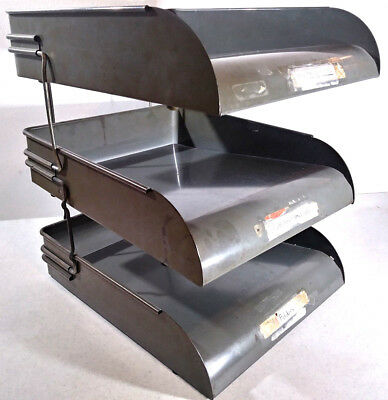Vintage 3-Tier Globe Wernicke Metal Stacking Desk File Trays In-Box