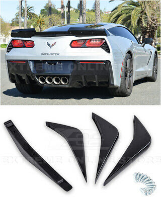EOS Body Kit Flat Black Rear Bumper Diffuser Fin 2 Pairs For 14-Up Corvette C7