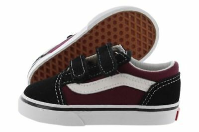 Vans Old Skool V VN0A344KQ7J Black Burgundy Suede Canvas Shoes Medium  Toddler b5c443696