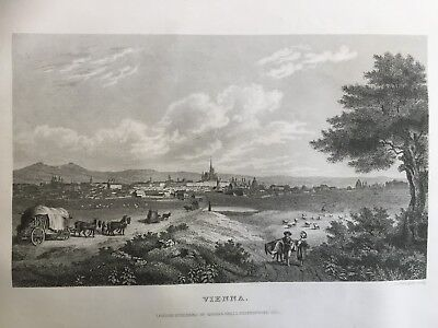 1830 Antique Print; City of Vienna, Austria -  published by Thomas Kelly, London