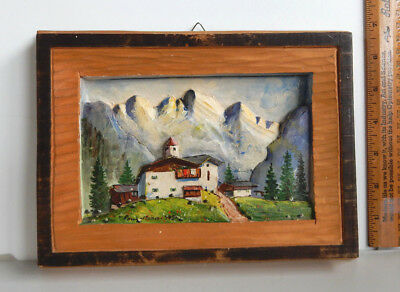 1952 Hand Carved & Painted Wood WALL ART Plaque BEAUTIFUL SWISS ALPS  3D  SIGNED