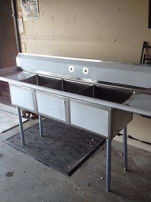 """Nsf Certified Restaurant Equipment 90"""" Stainless Steel 3 Compartment Sink"""