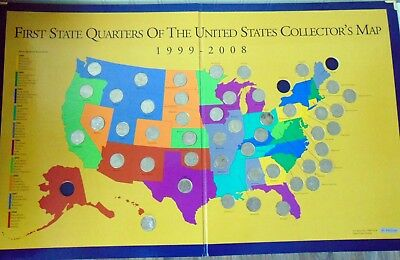 First State Quarters of The United States Collector's Map 1999 - 2008