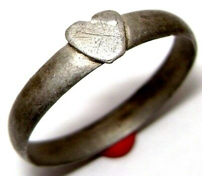 Ancient Post medieval silver Love Ring with Heart