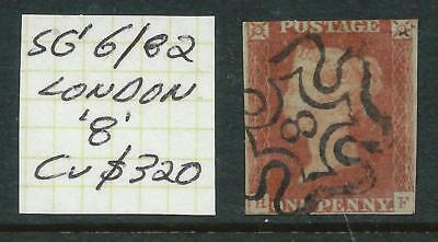 GREAT BRITAIN1841 - 1 Penny RED Imperf with 'London 8' Postmark Cv $320 [5456]