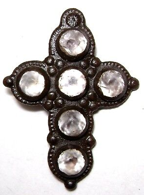 Ancient RARE Late Medieval Bronze Pendant / Cross with 6 white stones.