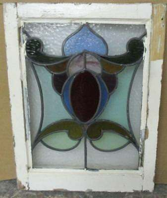 "OLD ENGLISH LEADED STAINED GLASS WINDOW Interesting Abstract 16.5"" x 21.75"""