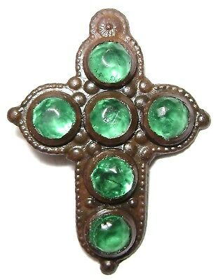 Ancient RARE Late Medieval Bronze Pendant / Cross with 6 green stones.