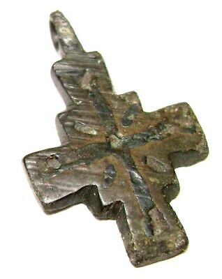 Ancient Viking bronze cast cross pendant. Kievan Rus