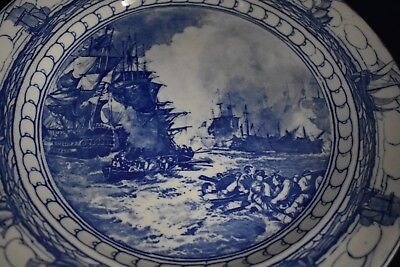 Vintage Royal Doulton Blue and White Transfer-ware Battle of Nile