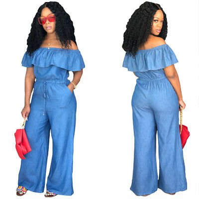 Women off shoulder Ruffle bodycon club casual sports denim long jeans jumpsuit