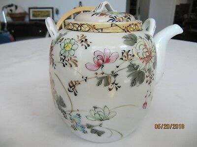 Antique Japanese Tashiro Hand Painted Teapot Meiji