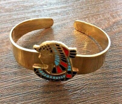 Ancient Egyptian Cuff Bracelet Queen Cleopatra Brass Hand made