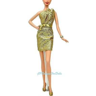 Barbie City Shine Gold Dress Purse Shoes Set for Model Muse New NO DOLL