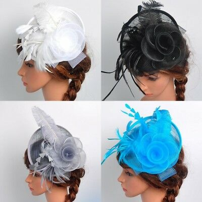 Women Fascinator Hat Feather Floral Headdress Cap Wedding Party Fishnet Headband