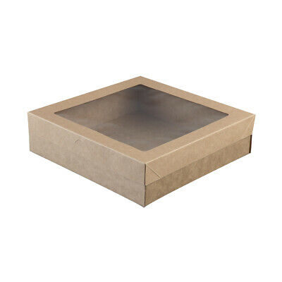10x Disposable Cardboard Catering Box w Clear Window Kraft Brown 225x225x60mm