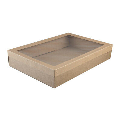 50x Disposable Cardboard Catering Box w Clear Window Kraft Brown 450x310x80mm