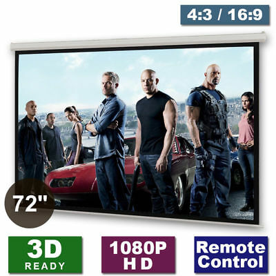"""72"""" Electric Motorised Projector Projection Screen Matte-White Home Cinema HD 3D"""