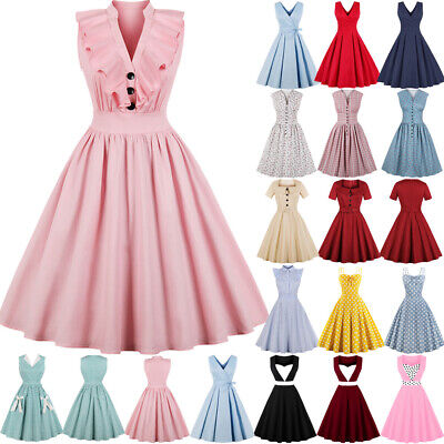 UK Womens Button Vintage 1950s 60s Rockabilly Evening Prom Swing Dress Plus Size