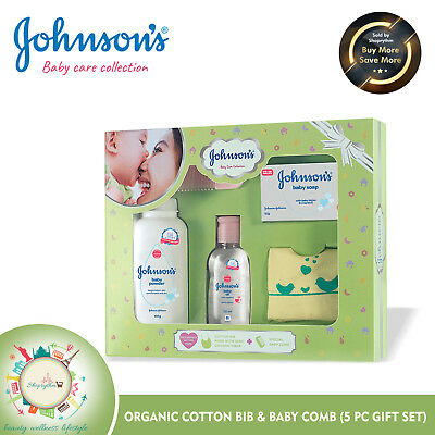 Johnson'S Baby Care Collection With Organic Cotton Bib & Baby Comb (5 Gift Item)