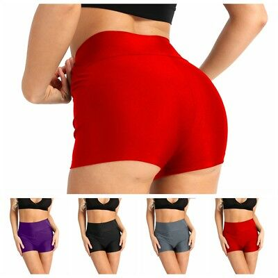 Women Adult Skinny Solid Sport Shorts High Waist Yoga Short Pants Running Shorts