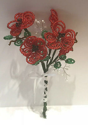 French Beaded Glass Flowers Handmade Bouquet Red Poppies