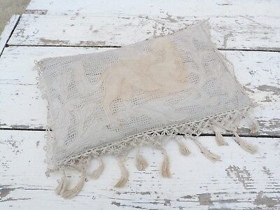 1850/1900s French Boudoir hand made embroidered linen pillow Winged Griffon