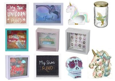 Glass Money Box Wooden Frame Savings Memory Shoe Unicorn Festival Skull Pet