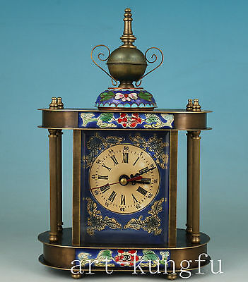 Rare Chinese Cloisonne Bronze mechanical Statue Watch horologium colck