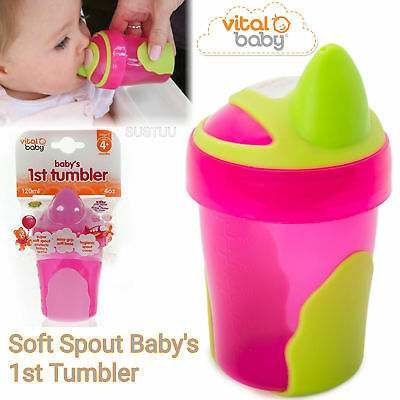 Vital Baby Soft Spout Baby's 1st Tumbler│Non Spill Free Flow│Safe Gum│120ml│Pink