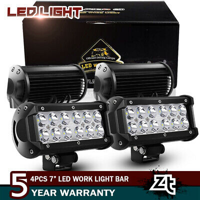 2x 7INCH 36W FLOOD LED WORK LIGHT BAR OFFROAD ATV FOG TRUCK SUV 4WD 12V VS SPOT