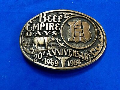 Vintage Beef Empire Days Rodeo ADM Solid Brass Belt Buckle 20th anniversary