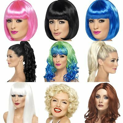 Womens Wig Hair Extentions Female Fancy Dress Accessory Curly Straight Bob Party