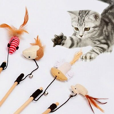 Wooden Kitten Cat Toy Mouse On A Rod Teaser Bell Feather Play Pet Fish Bird Wand