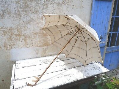 Edwardian French parasol/umbrella cream striped cotton/bamboo & sterling handle
