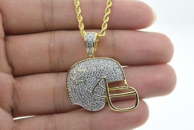14K Yellow Gold Plated Hip Hop Bling Iced out CZ Football Fashion Pendant Chain