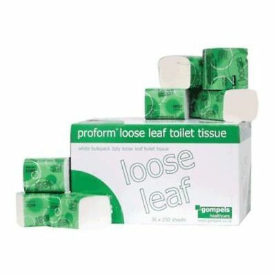 Proform 2 Ply Loose Leaf Toilet Tissue Roll Paper   Pack of 36 x 250