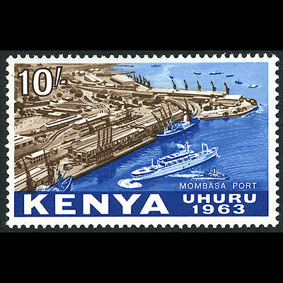 KENYA 1963 10s Mombasa Port. SG 13. Ship. Lightly Hinged Mint. (CA68J)