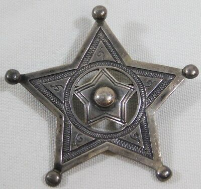 Vtg 1989 Signed Western Cowboy Sheriff Star Badge Brooch Pin